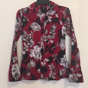 East 5th Rose Print Petite Button Down Blouse